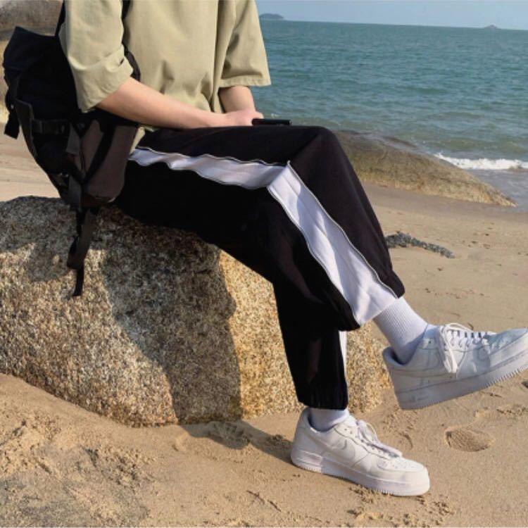 ジョガーパンツ テーパードパンツ サイドジップ ボトムス スウェット フレアパンツ パンツ メンズ レディース 原宿系 黒 ブラック L