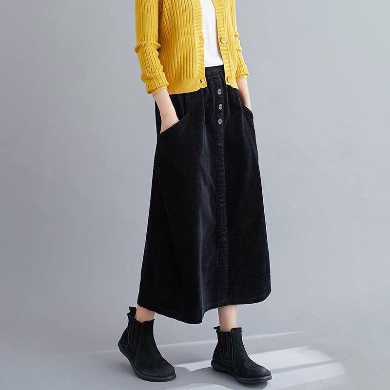 スカート 膝丈スカート コーデュロイ ドレープ ロングスカート フレアスカート プリーツ アジアン エスニック 韓国系 黒 ブラック フレア