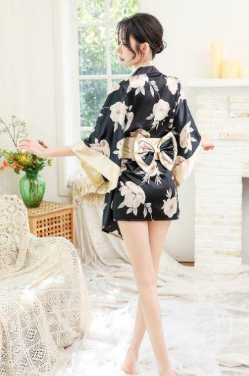 セクシー コスプレ 花魁 和服 着物 ランジェリー 衣装 女性 和風 和装 コスチューム 豪華4点セット(白黒)