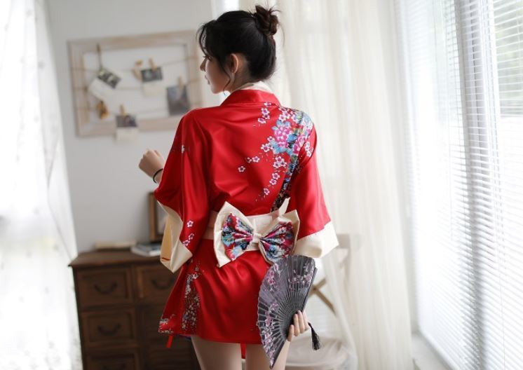セクシー コスプレ 花魁 和服 着物 ランジェリー 衣装 女性 和風 和装 コスチューム 豪華4点セット(レッド)