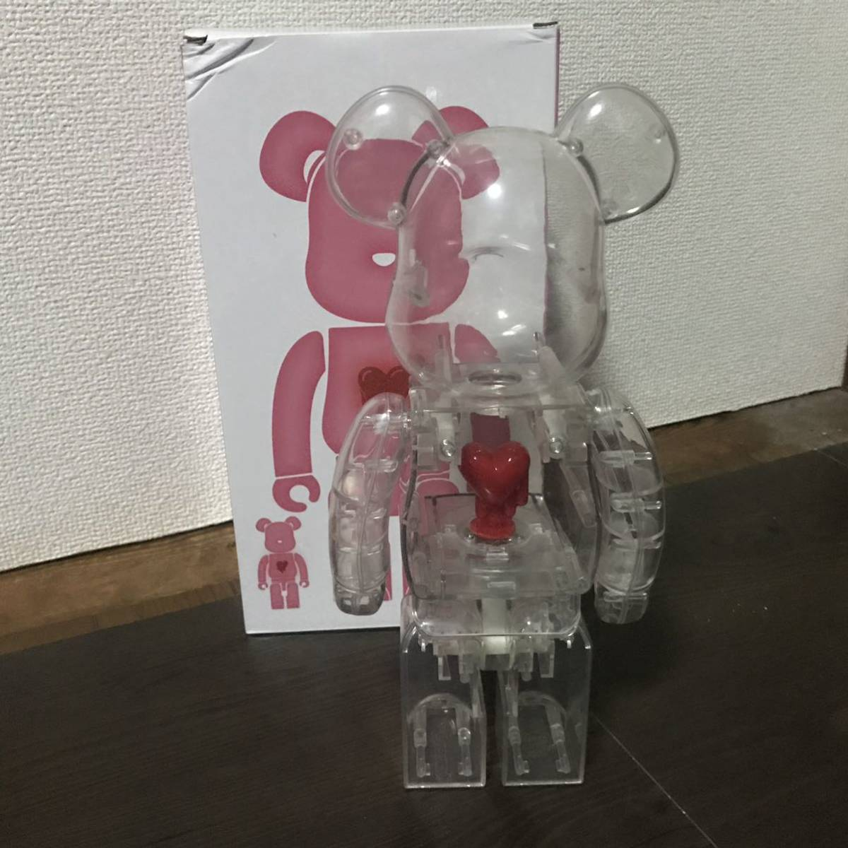 Bearbrick x Emotionally Unavailable Red Heart 400% Clear クリア 透明 ベアブリック BE@RBRICK _画像2