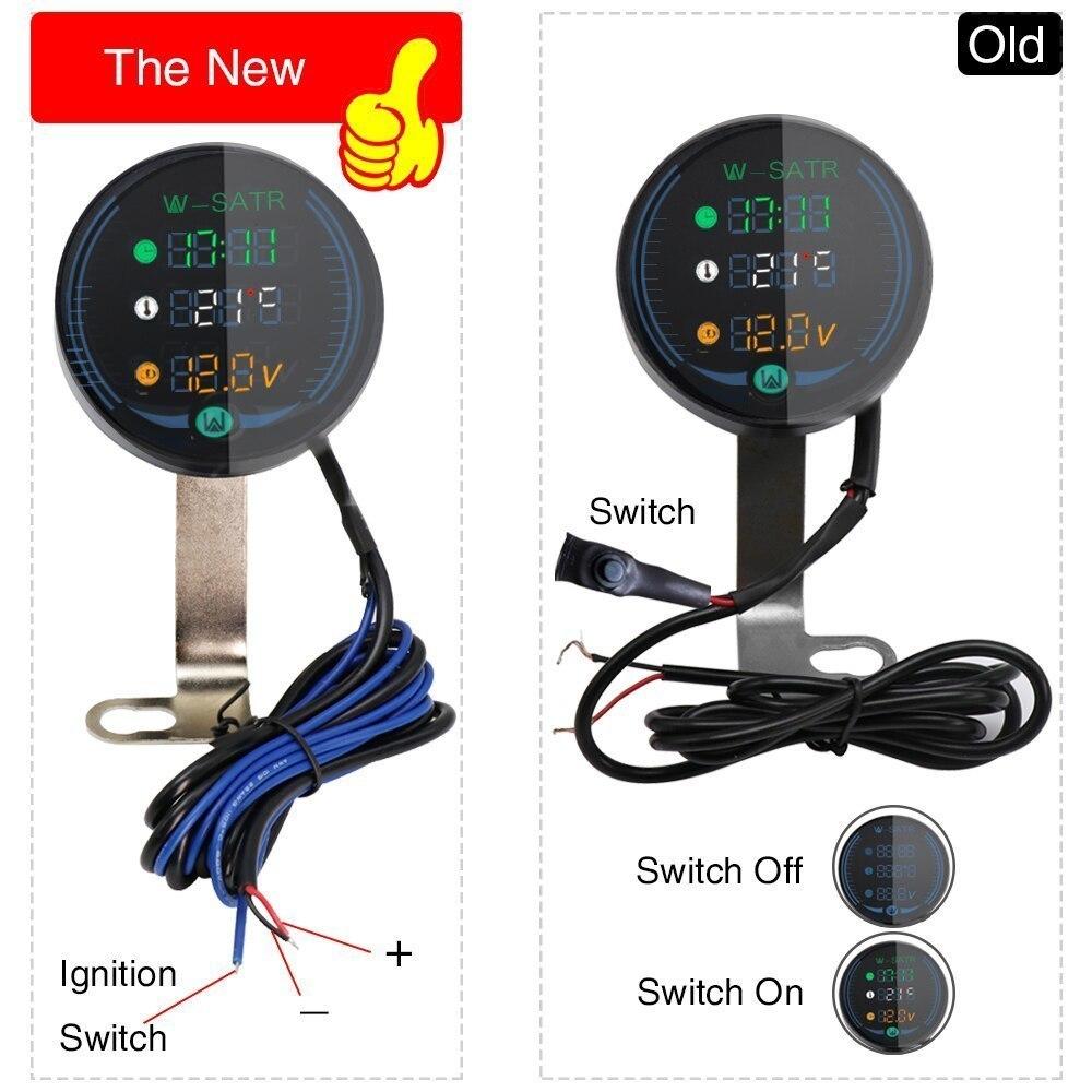 バイク用 電圧計 時計 気温計 9-24V 3-in-1 ボルトゲージ Led 電圧計時間温度_画像5