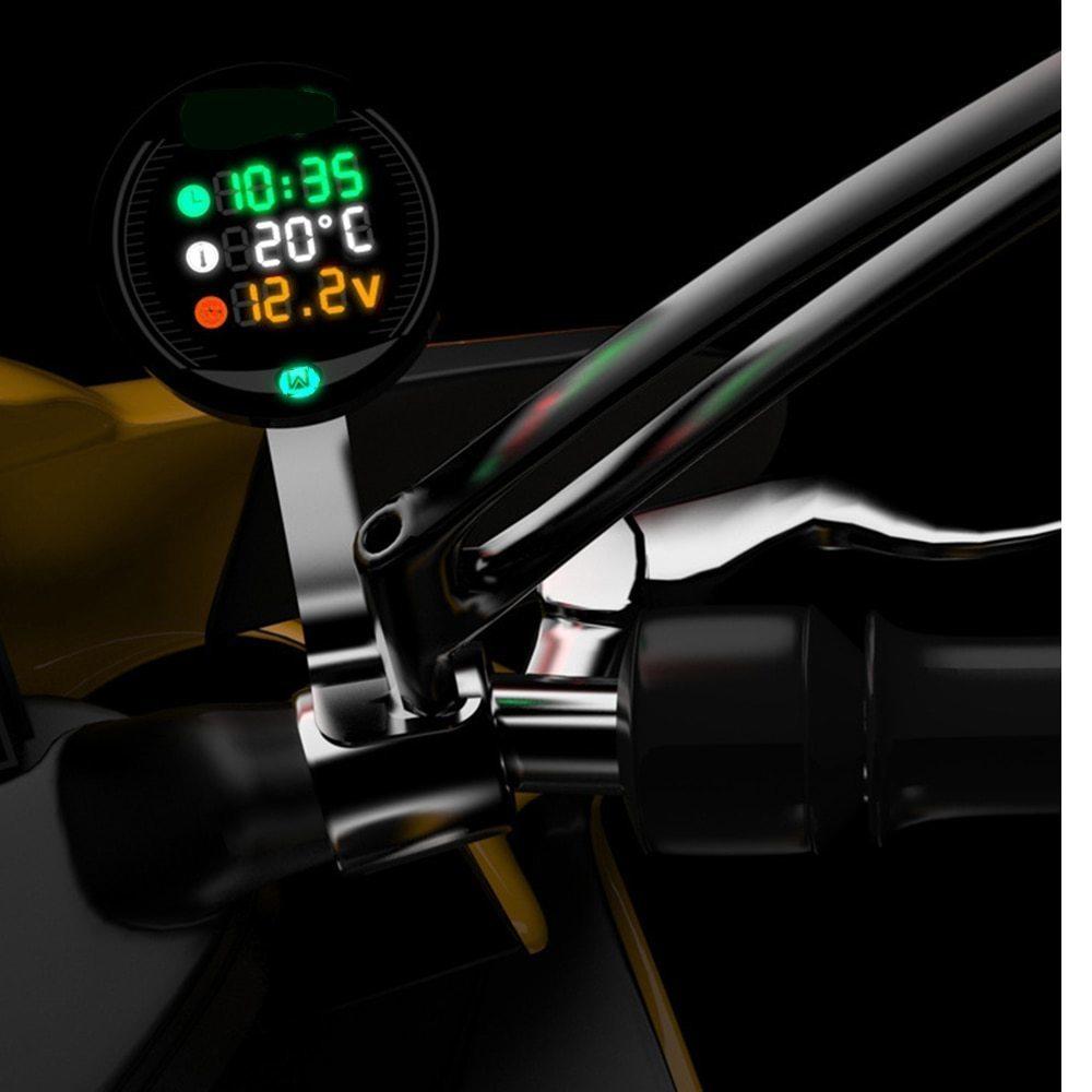 バイク用 電圧計 時計 気温計 9-24V 3-in-1 ボルトゲージ Led 電圧計時間温度_画像7