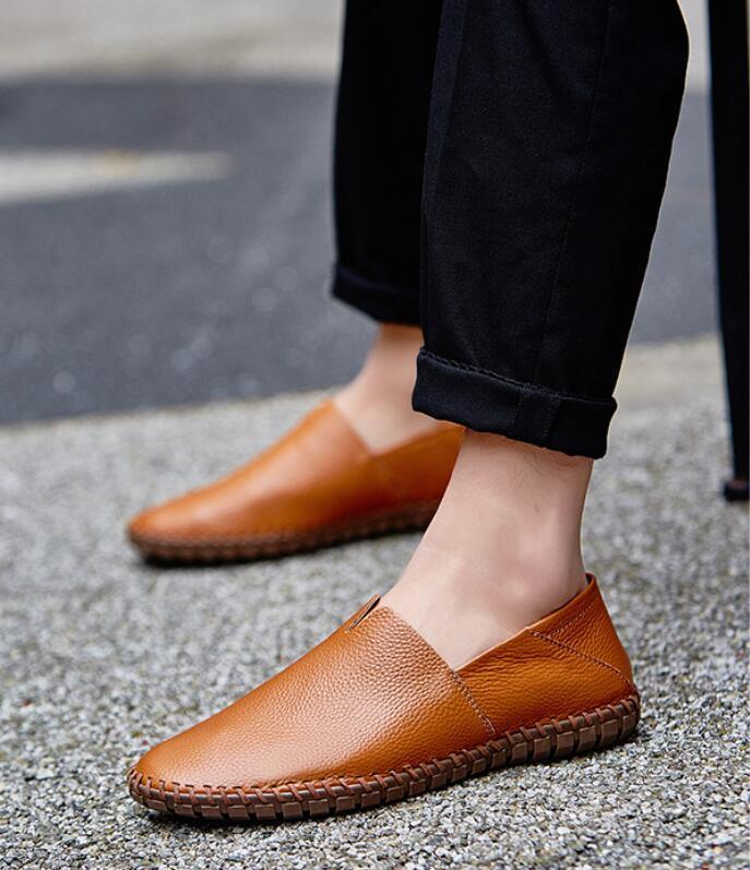 春新品カジュアルシューズ 新品 スリッポン メンズ ローファー ドライビング 紳士靴 滑り止め 柔らかい スリッパ 薄茶色 26.5cm_画像3
