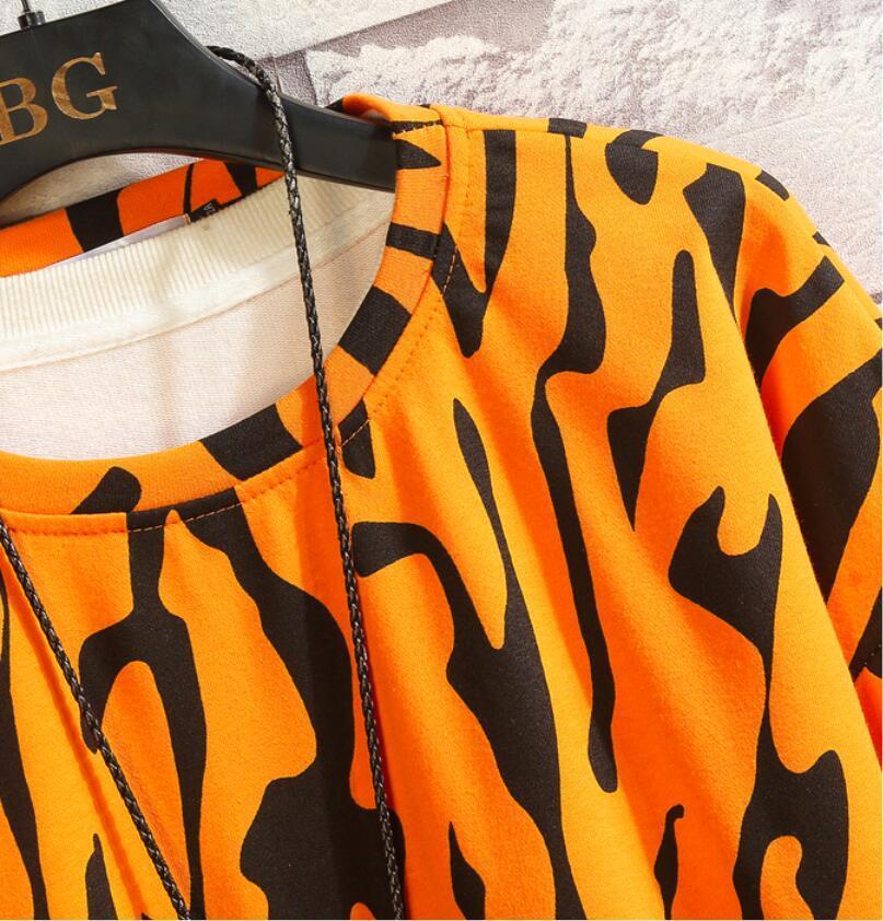 春2021 新品 Tシャツ スウェット パーカー カジュアル プルオーバー トレーナー メンズ トップス ヒョウ柄 ゆったり[M~5XL]選択可 白_画像9