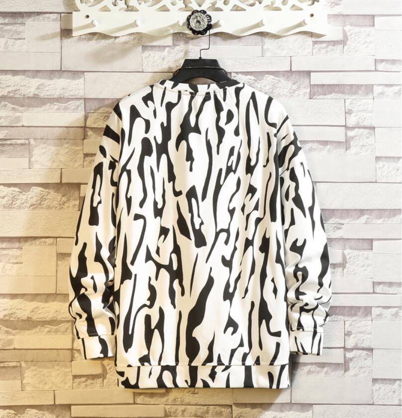 春2021 新品 Tシャツ スウェット パーカー カジュアル プルオーバー トレーナー メンズ トップス ヒョウ柄 ゆったり[M~5XL]選択可 白_画像2
