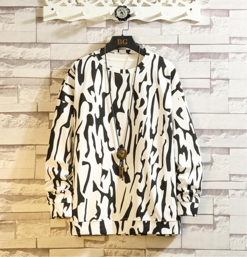 春2021 新品 Tシャツ スウェット パーカー カジュアル プルオーバー トレーナー メンズ トップス ヒョウ柄 ゆったり[M~5XL]選択可 白_画像1
