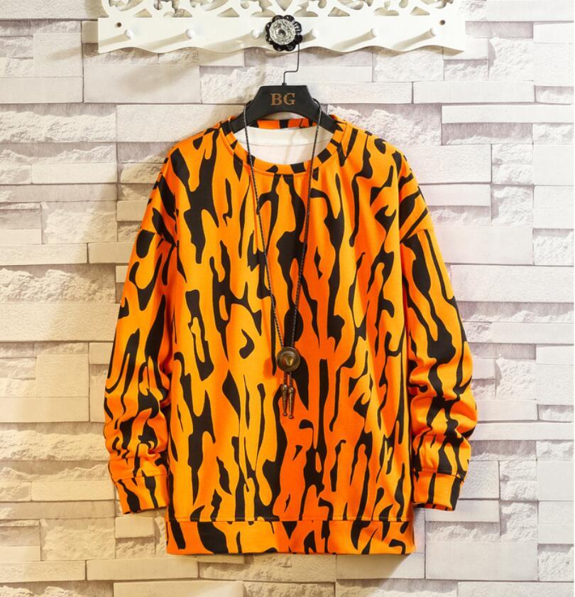春2021 新品 Tシャツ スウェット パーカー カジュアル プルオーバー トレーナー メンズ トップス ヒョウ柄 ゆったり[M~5XL]選択可 白_画像5