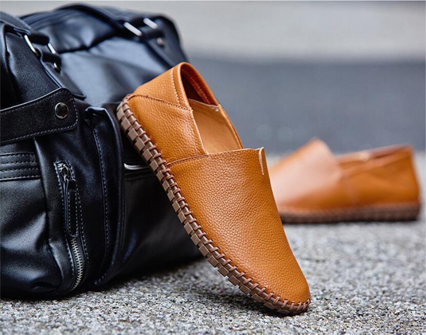 春新品カジュアルシューズ 新品 スリッポン メンズ ローファー ドライビング 紳士靴 滑り止め 柔らかい スリッパ 薄茶色 26.5cm_画像4