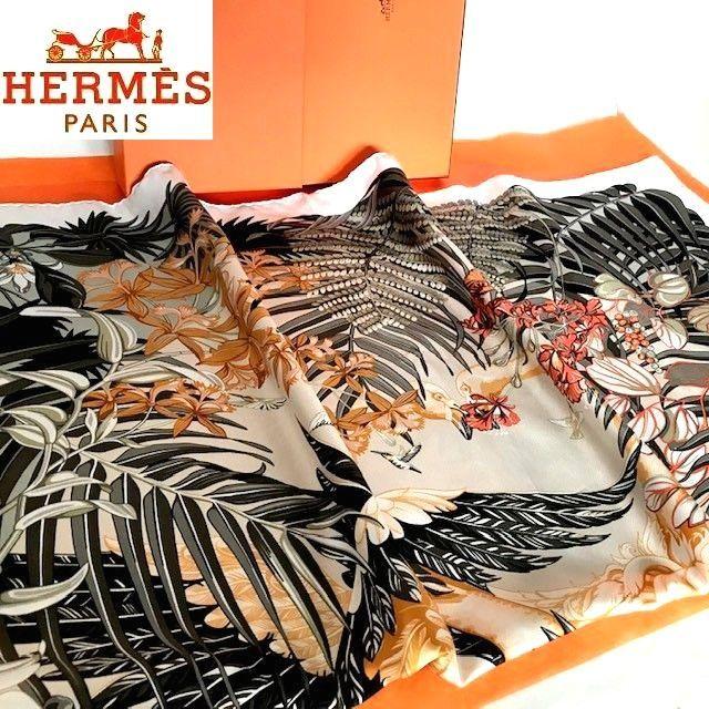 ◆ 1円 超美品 HERMES【Flamingo Party】(フラミンゴパーティー柄)カレ90 シルク100%