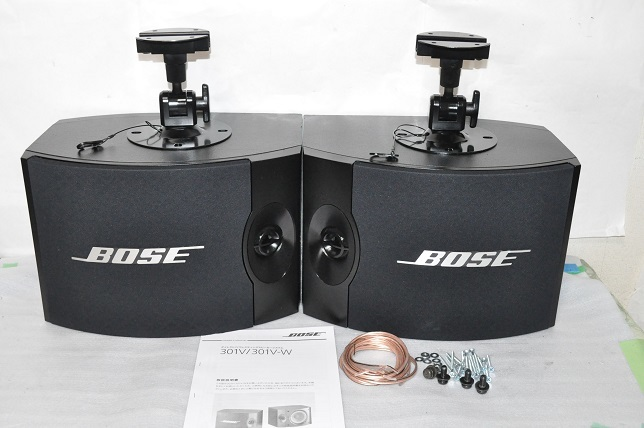 BOSE 301V ボーズ スピーカー エッジ新品交換済 ネット新品張替済 純正ブラケット付 メンテナンス済 動作品 ペア