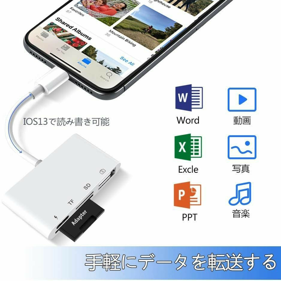 iPhone SD カードリーダー 最新 iOS14 双方向 データ転送 USB カメラ Office 資料 読み書き