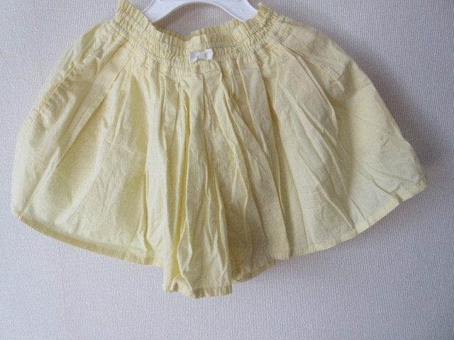 プチマインpetit mainプティマイン;レモンイエロー黄色キュロット;スカート130