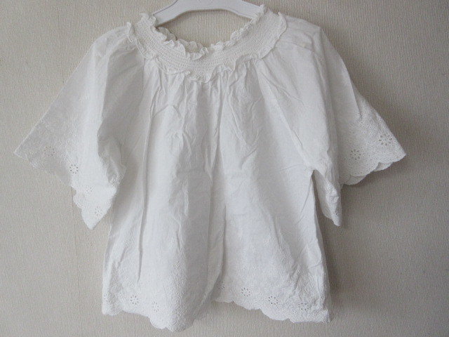 プチマインpetit mainプティマイン;レース柄;花;刺繍トップス半袖130ホワイト白