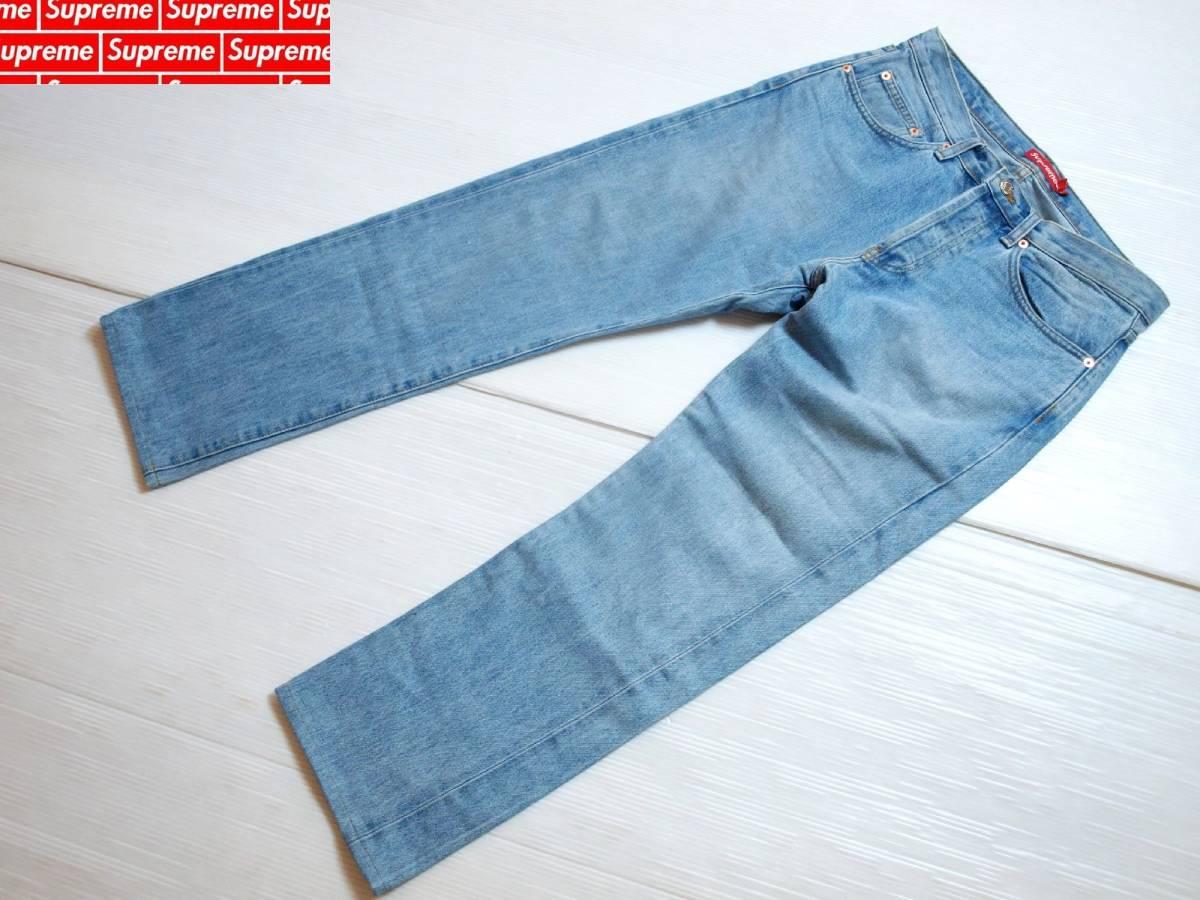 Supreme シュプリーム Stone Washed Slim Jean ストーンウォッシュド スリムジーンズ 32インチ 2015SS 中古品 裾カット済み