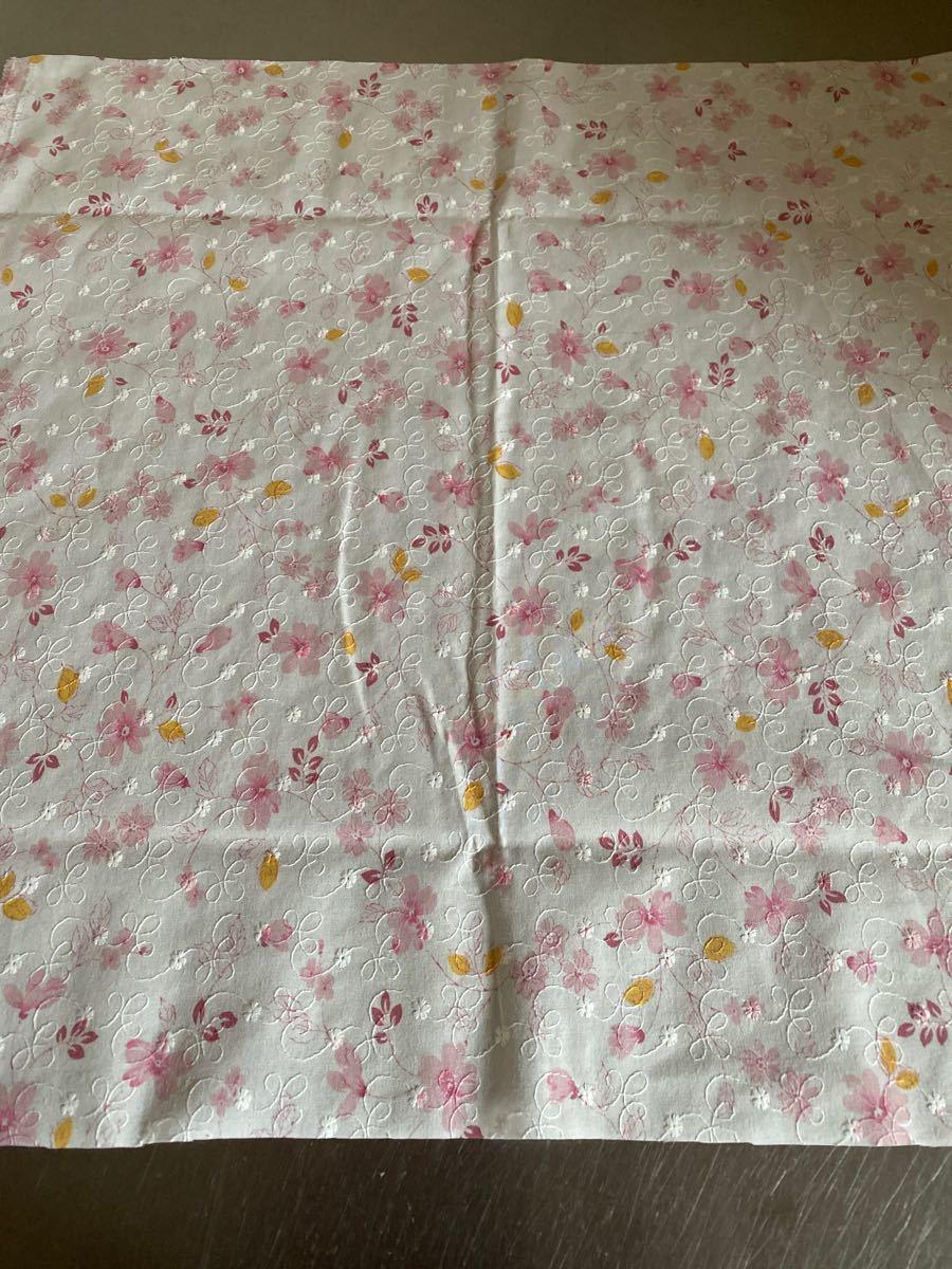 コットン刺繍レース生地 ピンク花柄プリント 生地幅×50cm コットンレース