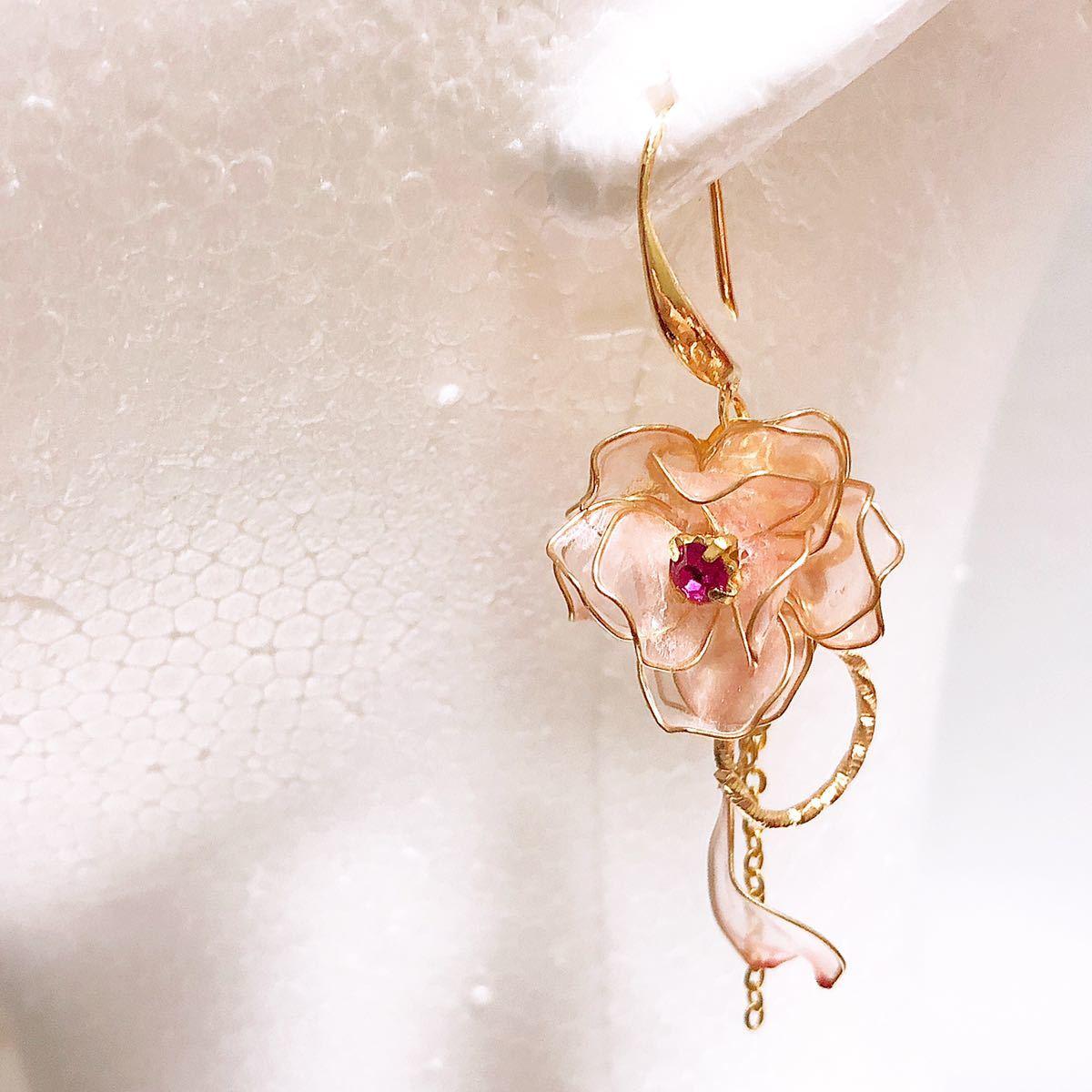 桃色の薔薇 ピアス/イヤリング ディップアート アメリカンフラワー ワイヤーフラワー ピンク ドレス プレゼント ギフト 大人 可愛い_画像7