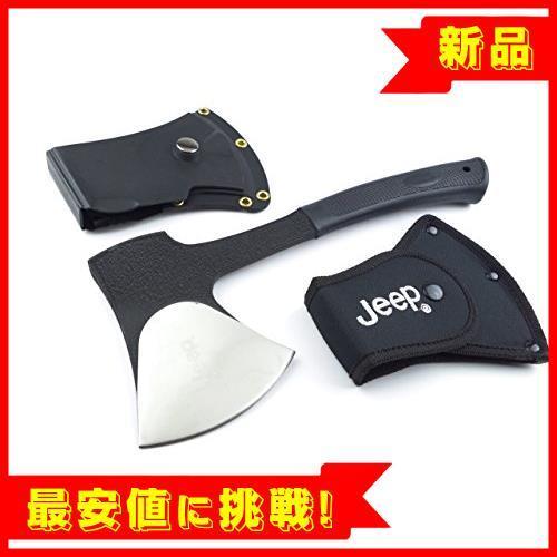 【新品×即決】JEEP(ジープ) トマホーク 重厚ワンハンド・アックス 5mm厚ブレード 防錆ブラックテフロン加工 2ケース付属