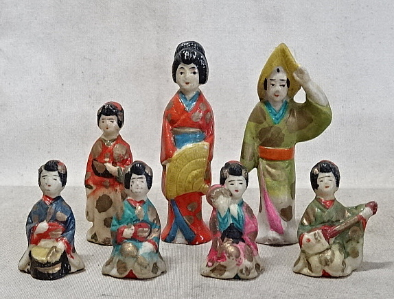 時代・磁器人形・まとめて 射的人形/土人形/舞妓/芸者/郷土玩具/戦前_画像1