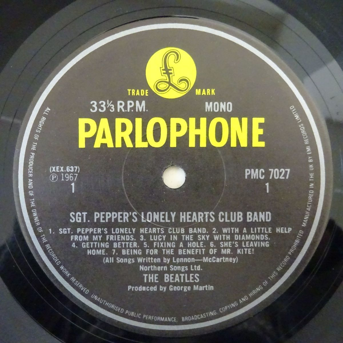 13036225;【UK盤/MONO/美盤】The Beatles / Sgt. Pepper's Lonely Hearts Club Band_画像3