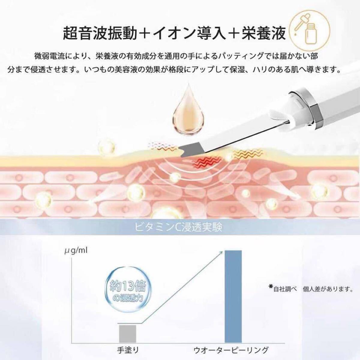 ウォーターピーリング 目元ケア 超音波ピーリング イオン導入 美顔器 超音波美顔器 スマートピール 超音波
