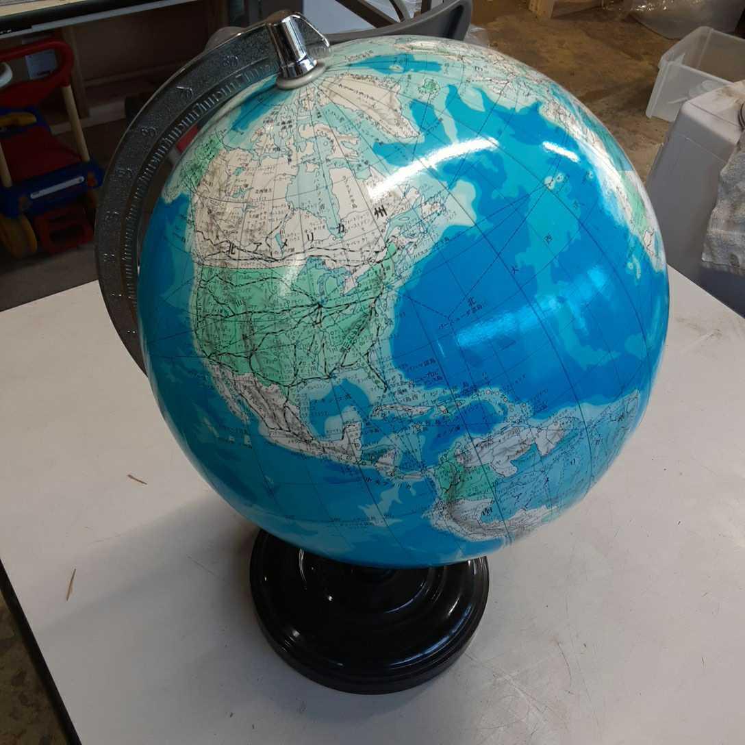 学校系】②WORLD 地球儀 アンティーク インテリア ビンテージ レトロ ディスプレイ 机上アクセサリー 地理 学生 勉強 世界地図 _画像3
