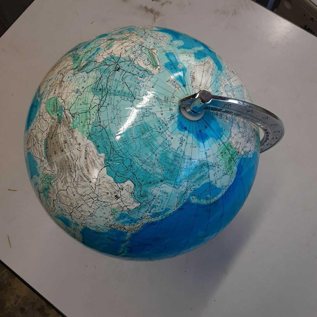 学校系】②WORLD 地球儀 アンティーク インテリア ビンテージ レトロ ディスプレイ 机上アクセサリー 地理 学生 勉強 世界地図 _画像2
