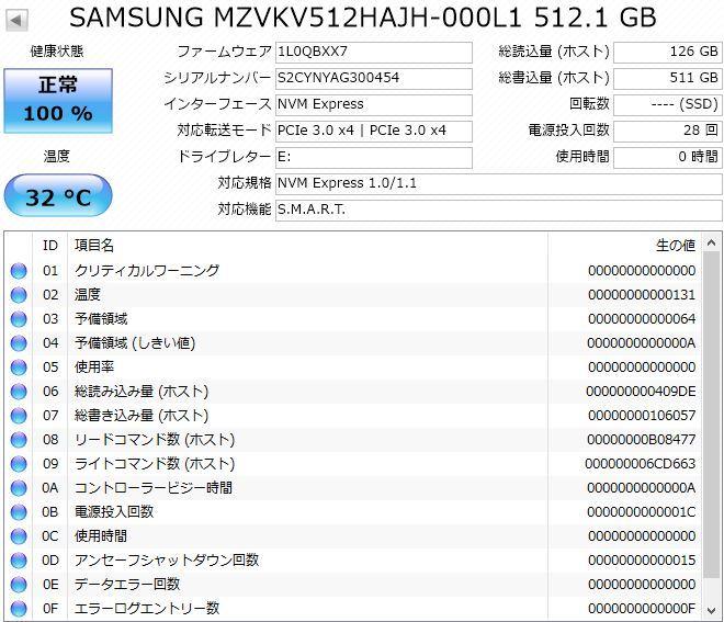 送料無料 未使用品 サムスン SM951a 512GB M.2 PCIe 3D MLC (MLC V-NAND) SSD NVMe 高速 最大Read 2500MB/s 高耐久 950Pro 相当品