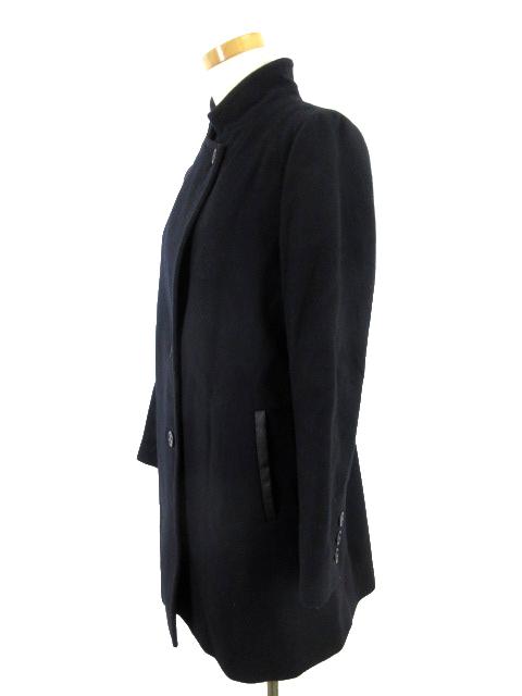 スピック&スパン Spick&Span ステンカラー コート 立ち襟 Vallombrosa バロムブローサ ポケットフェイクレザー 紺 ネイビー ウール 36_画像2