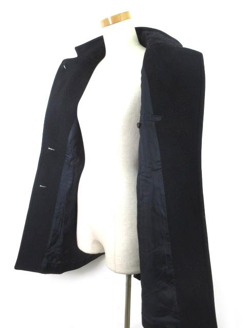 スピック&スパン Spick&Span ステンカラー コート 立ち襟 Vallombrosa バロムブローサ ポケットフェイクレザー 紺 ネイビー ウール 36_画像4