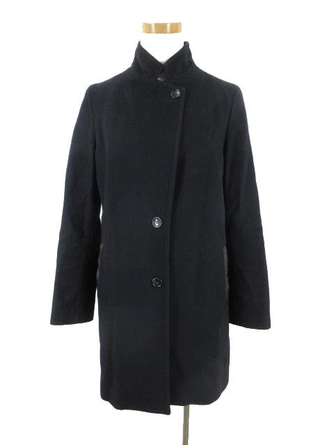 スピック&スパン Spick&Span ステンカラー コート 立ち襟 Vallombrosa バロムブローサ ポケットフェイクレザー 紺 ネイビー ウール 36_画像1