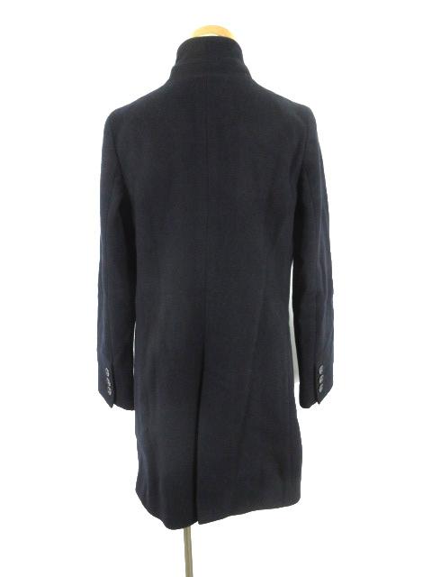 スピック&スパン Spick&Span ステンカラー コート 立ち襟 Vallombrosa バロムブローサ ポケットフェイクレザー 紺 ネイビー ウール 36_画像3