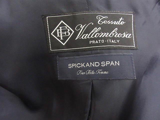 スピック&スパン Spick&Span ステンカラー コート 立ち襟 Vallombrosa バロムブローサ ポケットフェイクレザー 紺 ネイビー ウール 36_画像5