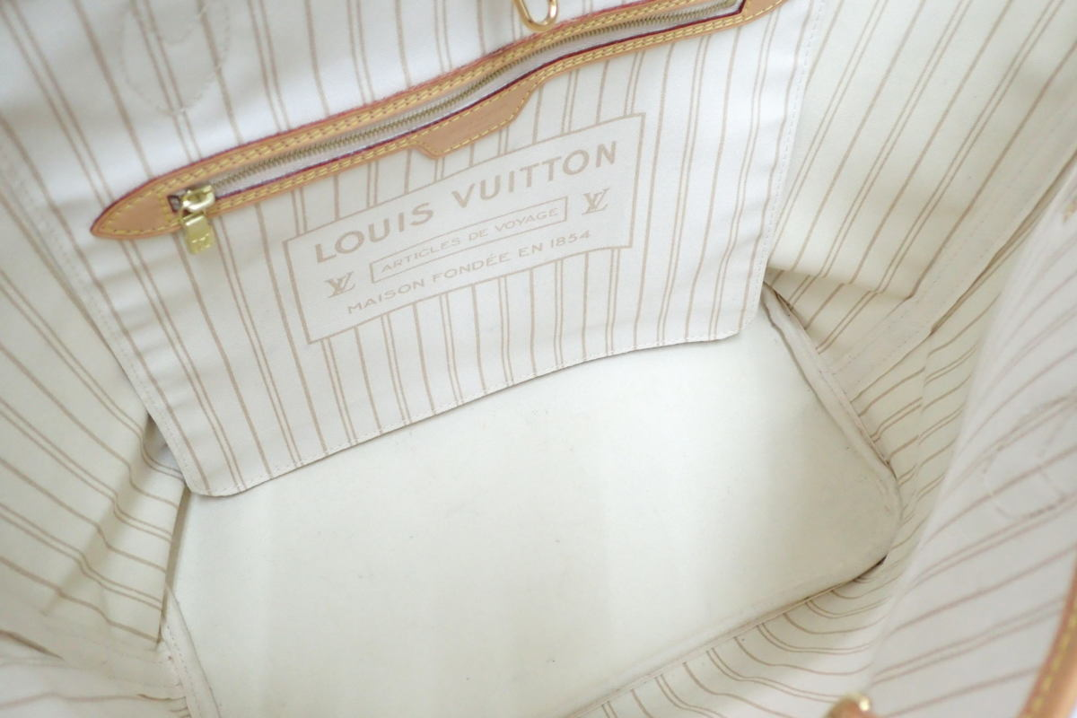 1円 【LOUI VUITTON】 ルイヴィトン ダミエ アズール トートバッグ ネヴァーフルMM ポーチ付 [N41361] ◆美品 箱 袋付 質屋