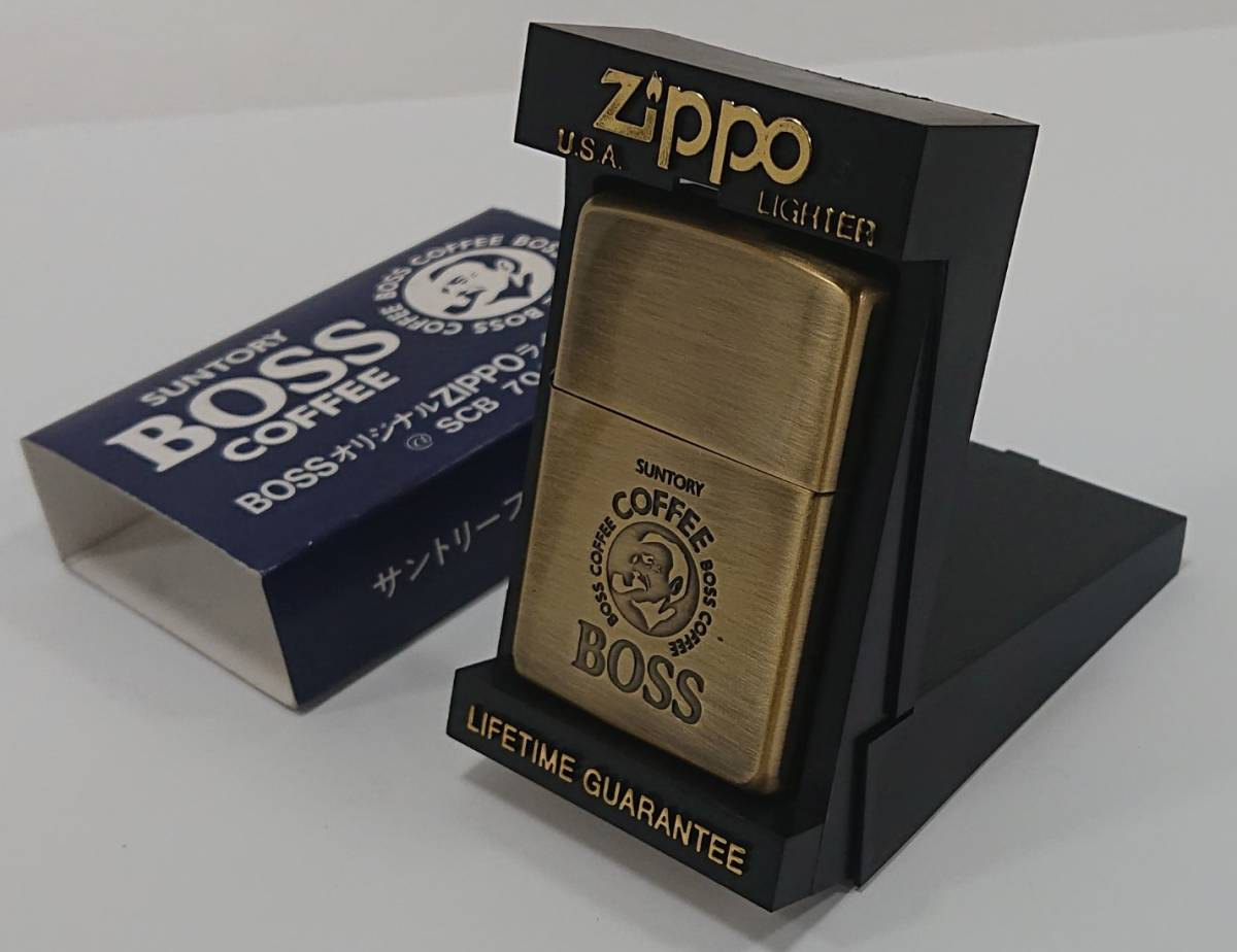 【 ZIPPO 】BOSS SUNTORY COFFEE オリジナル ボス サントリー B ゴールド 1995年製 中古保管品 喫煙具 USA オイルライター SS