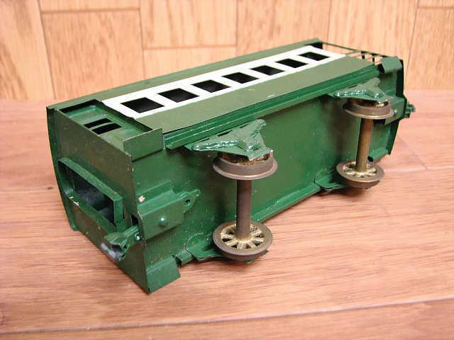 ・80 当時物 KTM カツミ 鉄道模型 ブリキ 完成貨車 スケールモデル Oゲージ 緑 青 昭和 レトロ アンティーク_画像5