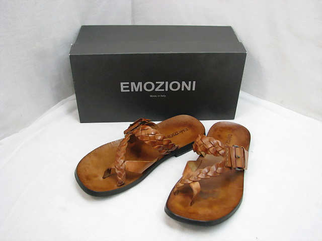 ・82 程度良 EMOZIONI エモジオーニ レザー サンダル 26cm イタリア製 メンズ 41 ブラウン 茶 箱付き _画像1