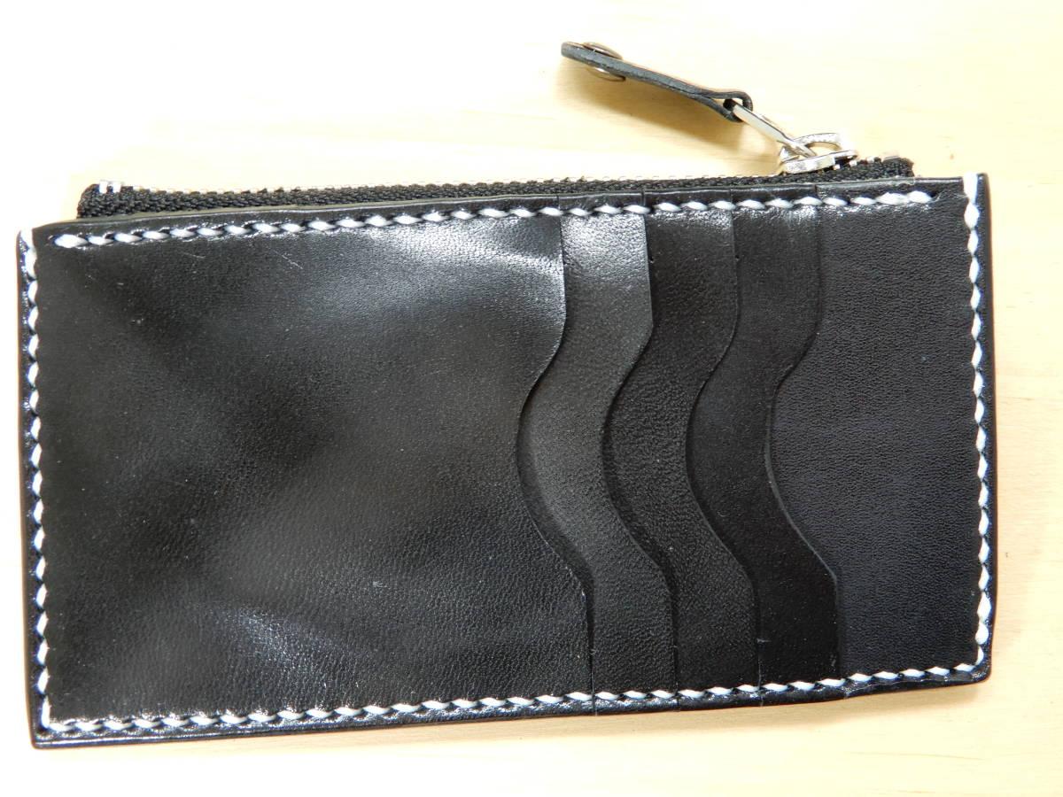 コンパクト財布 栃木サドルレザー ブラック 手縫い ハンドメイド_画像1