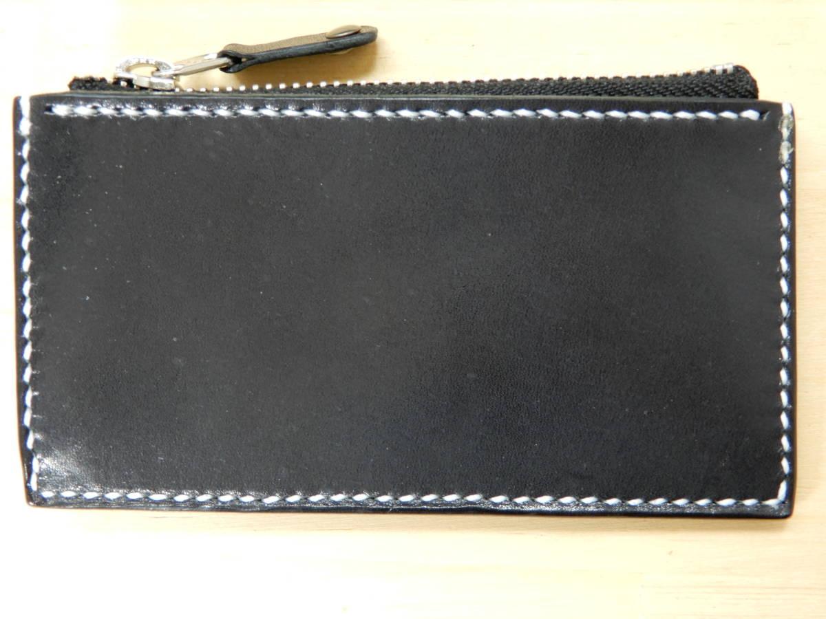 コンパクト財布 栃木サドルレザー ブラック 手縫い ハンドメイド_画像2