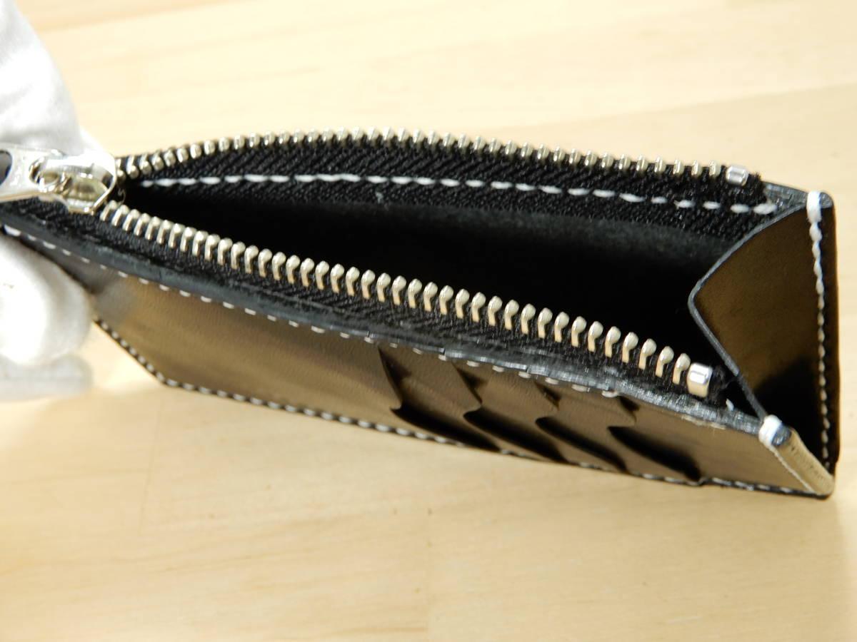 コンパクト財布 栃木サドルレザー ブラック 手縫い ハンドメイド_画像4