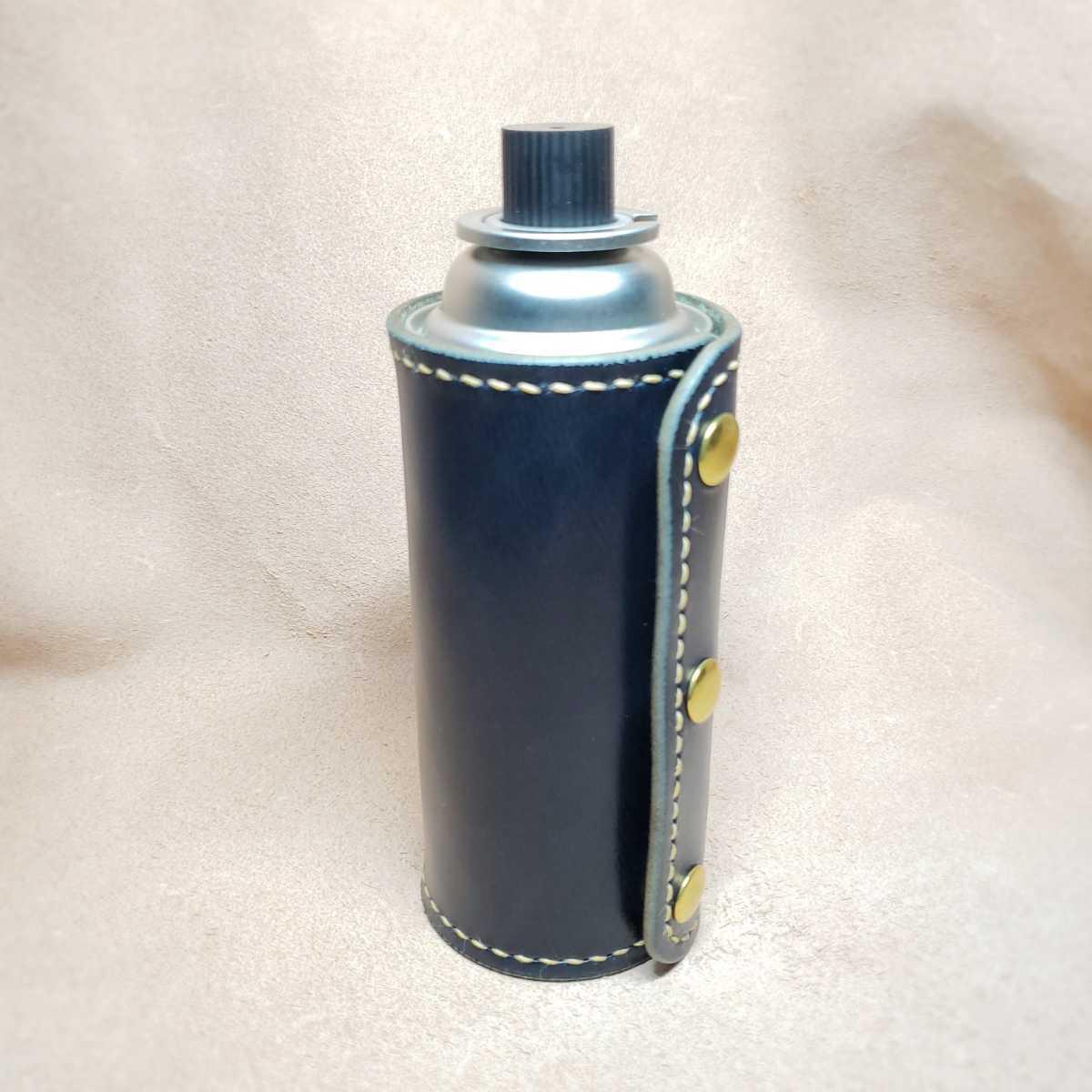 CB缶カバー(カセットボンベ) 栃木レザー 丘染めネイビーヌメ革 3.5ミリ厚