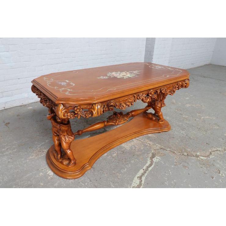 #8781 ヨーロッパ市場在庫品 アンティーク家具 コーヒーテーブル 1940年代 イタリア原産 ウォールナットその他オーク製_画像1