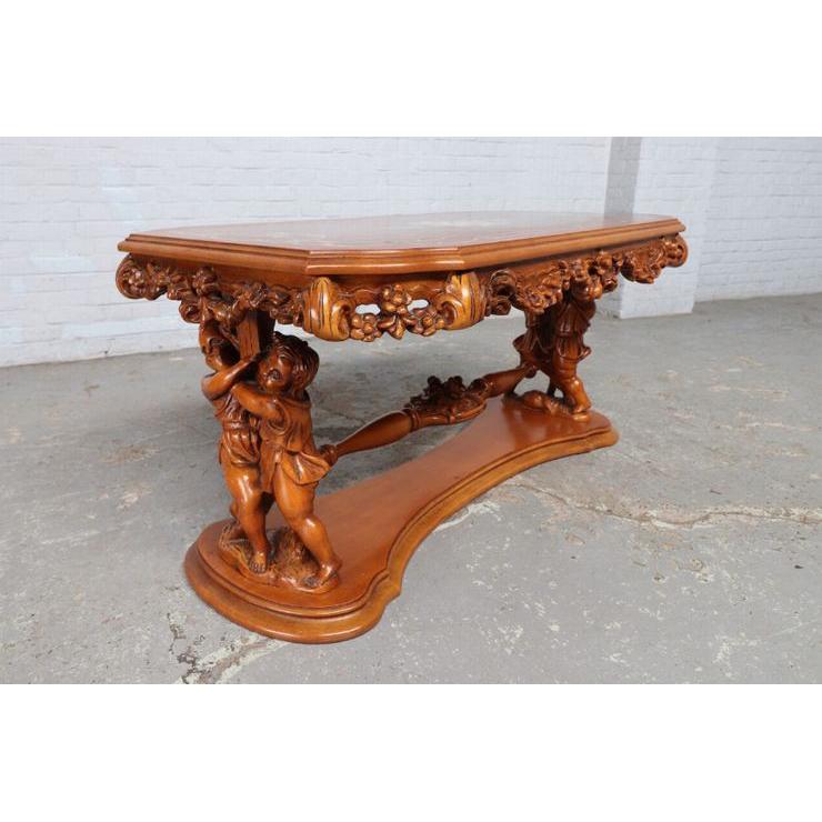 #8781 ヨーロッパ市場在庫品 アンティーク家具 コーヒーテーブル 1940年代 イタリア原産 ウォールナットその他オーク製_画像5