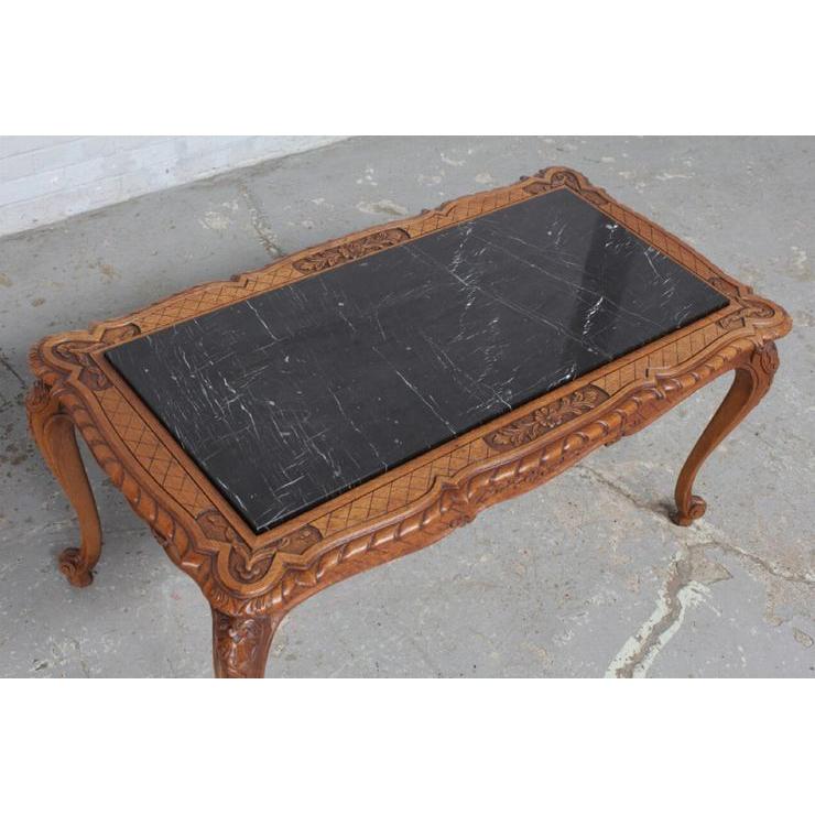 #8227 ヨーロッパ市場在庫品 アンティーク家具 コーヒーテーブル 1920年代 ベルギー原産 オーク/天板大理石製_画像3