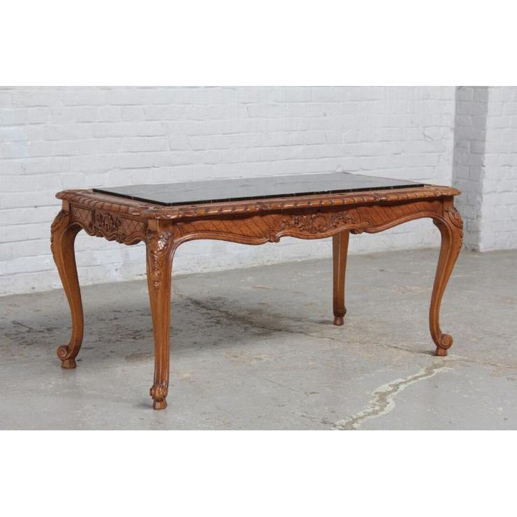 #8227 ヨーロッパ市場在庫品 アンティーク家具 コーヒーテーブル 1920年代 ベルギー原産 オーク/天板大理石製_画像1