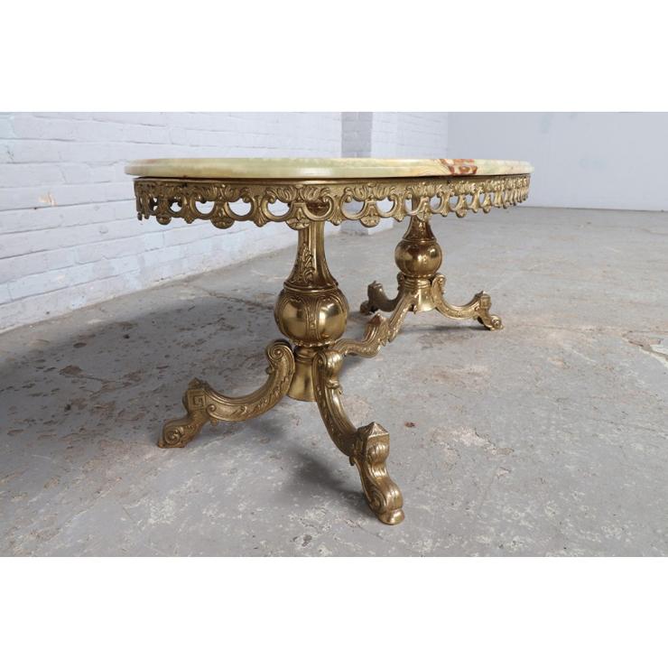 #9008 ヨーロッパ市場在庫品 アンティーク家具 コーヒーテーブル 1950年代 イタリア原産 ブロンズ/天板オニキス製_画像4