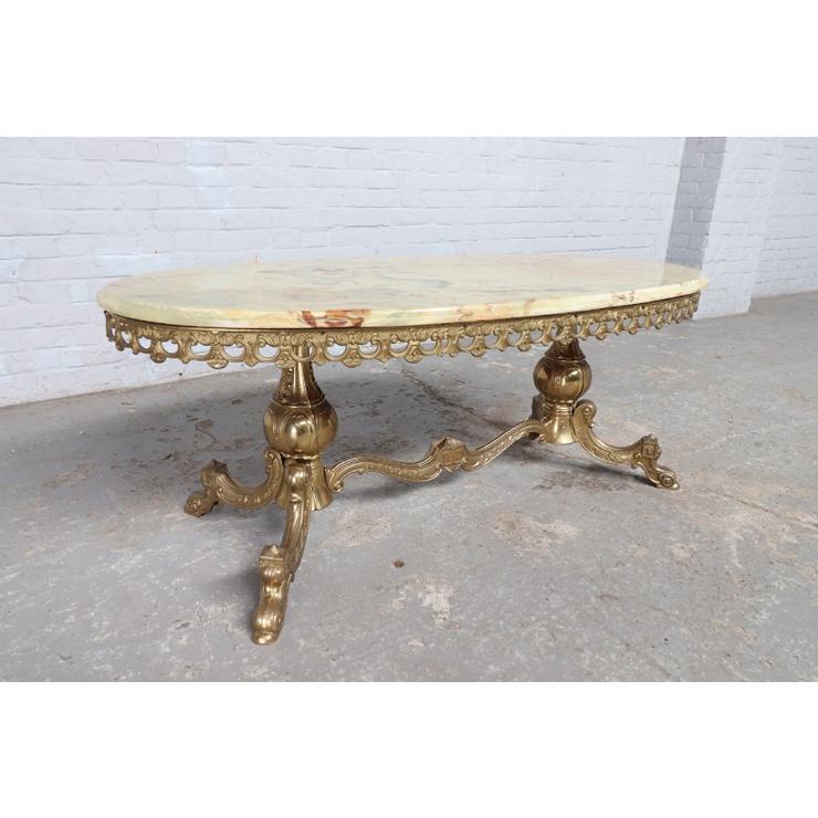 #9008 ヨーロッパ市場在庫品 アンティーク家具 コーヒーテーブル 1950年代 イタリア原産 ブロンズ/天板オニキス製_画像1