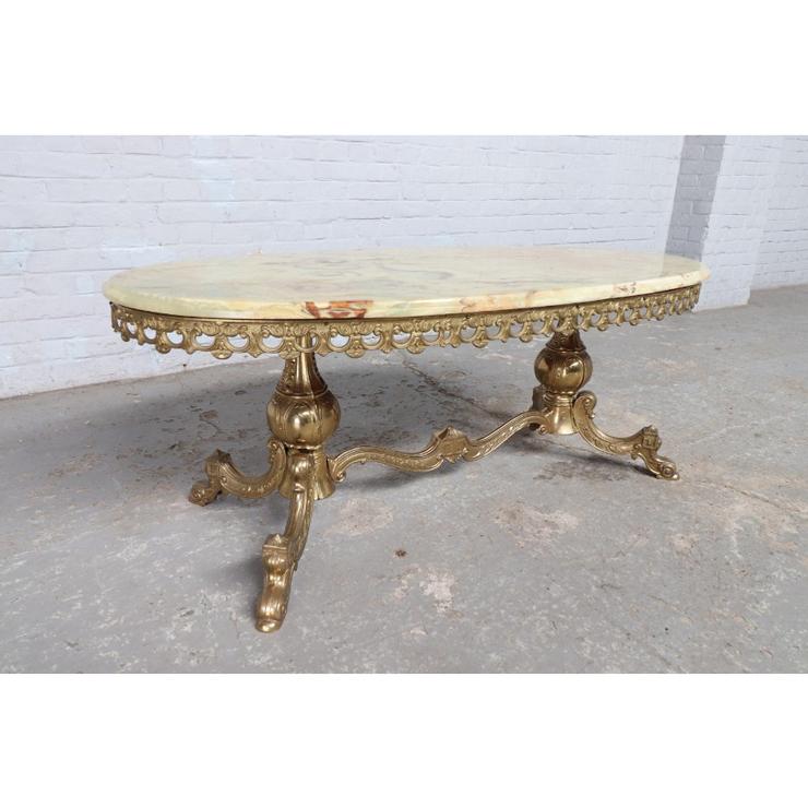 #9008 ヨーロッパ市場在庫品 アンティーク家具 コーヒーテーブル 1950年代 イタリア原産 ブロンズ/天板オニキス製_画像6