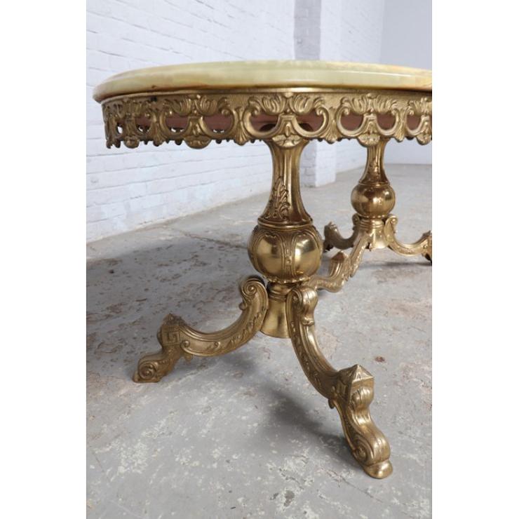 #9008 ヨーロッパ市場在庫品 アンティーク家具 コーヒーテーブル 1950年代 イタリア原産 ブロンズ/天板オニキス製_画像5