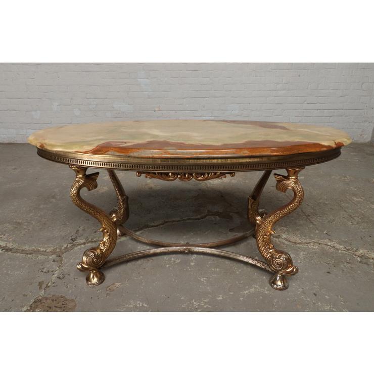 #9322 ヨーロッパ市場在庫品 アンティーク家具 コーヒーテーブル 1950年代 イタリア原産 ブロンズ/天板大理石製_画像4